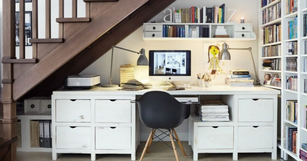 under stairs Make A Cheerful Home Office