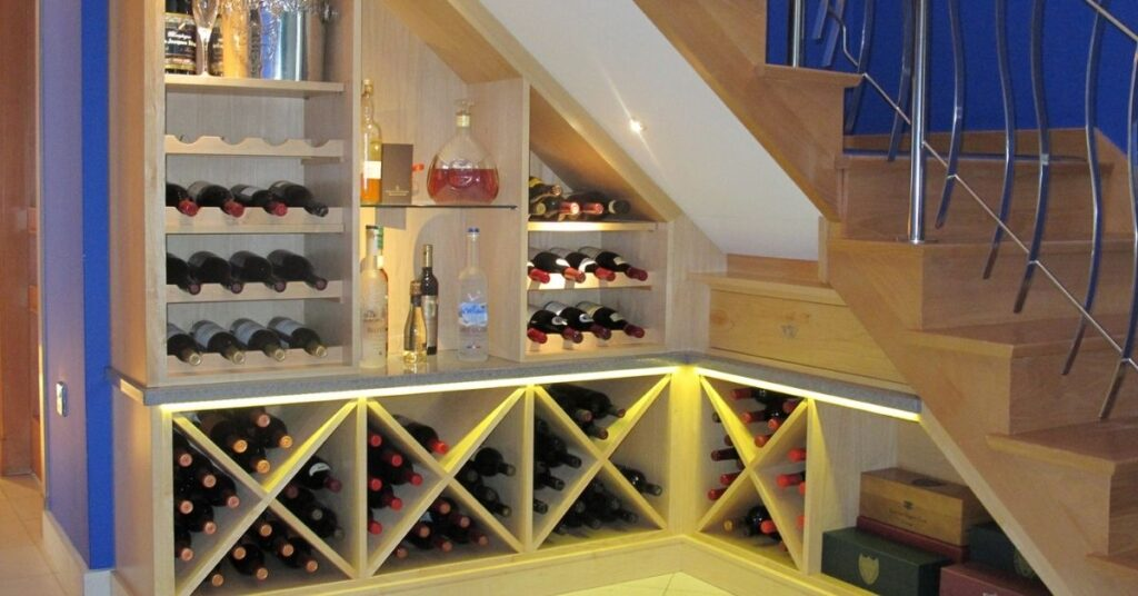 how to build a wine rack under stairs