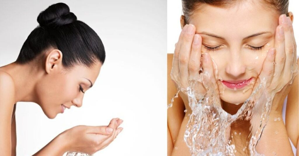 Woman Washing Her Clean Face with Water